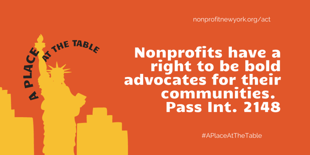 Take action to support nonprofit advocacy! Sign on to endorse Int. 2148-2020